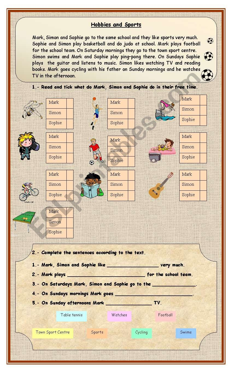 Hobbies and Sports worksheet