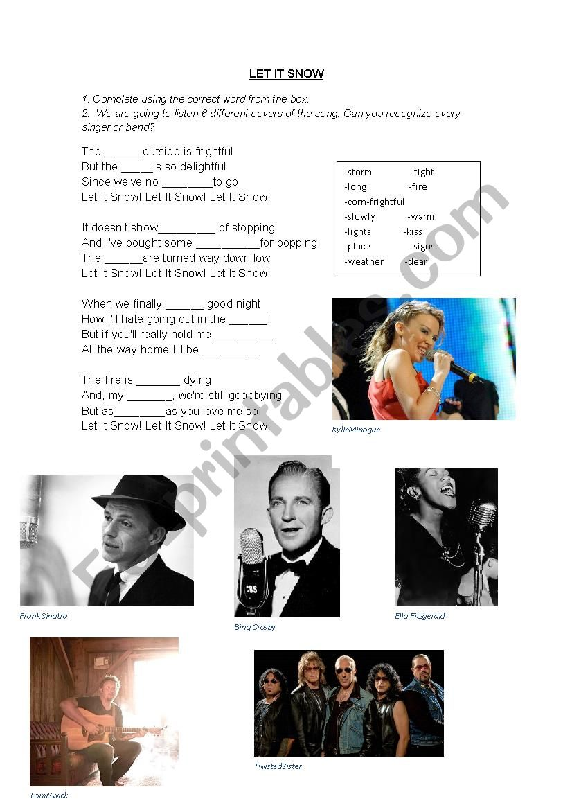 Christmas song: let it snow! Listen 6 different covers and fill in the blanks!