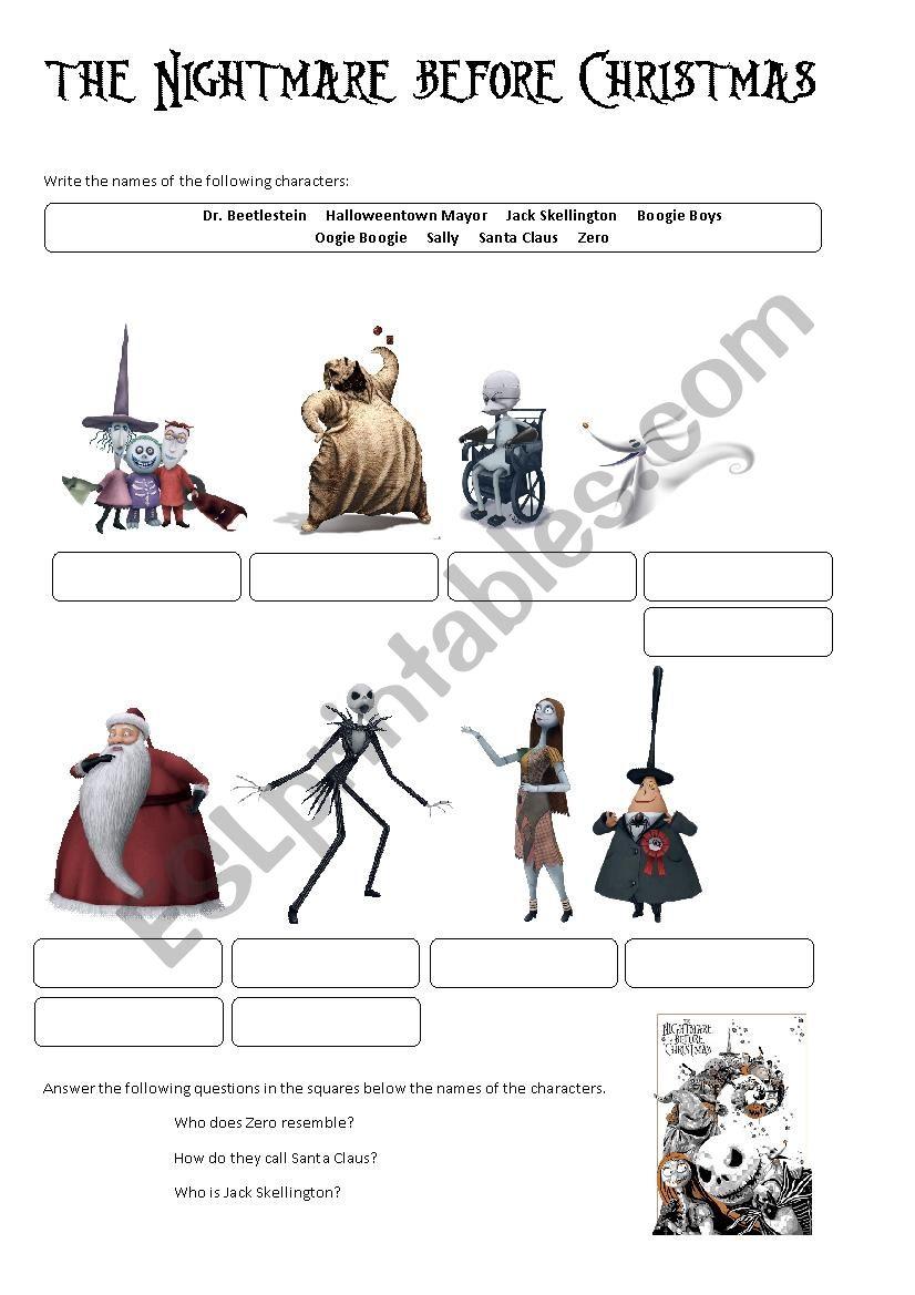 The Nightmare Before Christmas (characters) , ESL worksheet