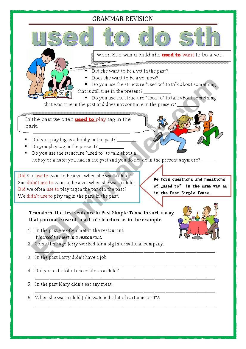 GRAMMAR REVISION - used to  worksheet