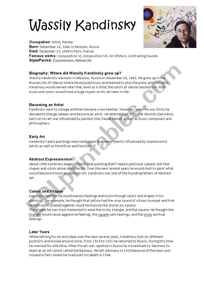 Kandinsky biography worksheet