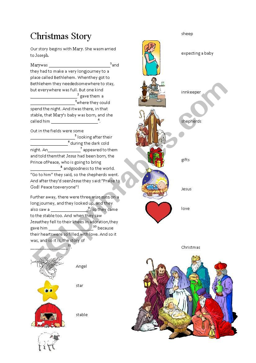 The story of Christmas! worksheet