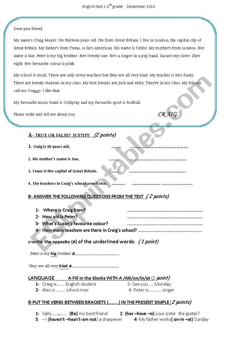 6th form test worksheet