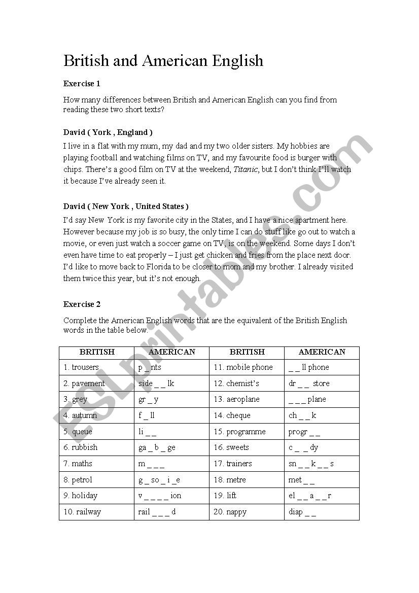 British vs American English worksheet
