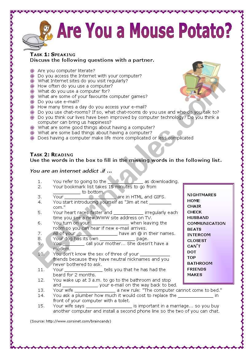Are You a Mouse Potato?  worksheet