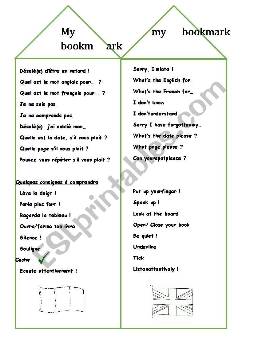 Bookmark Esl Worksheet By Smellarede