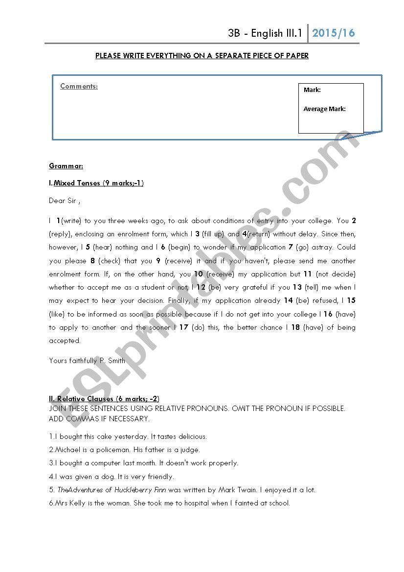 paper worksheet