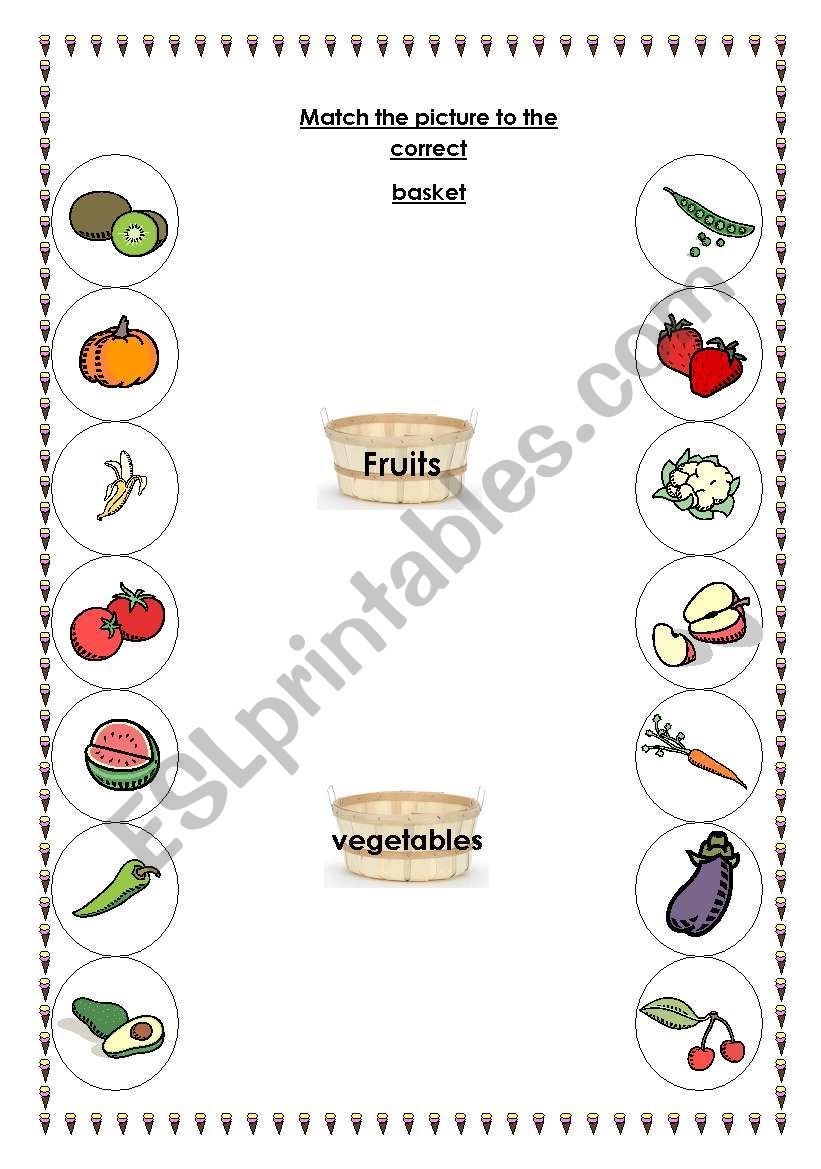 fruit and vegetable matching activity