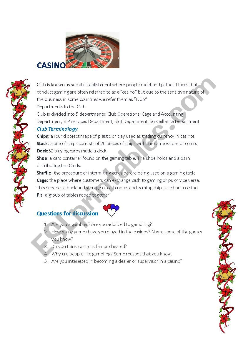 CASINO  worksheet
