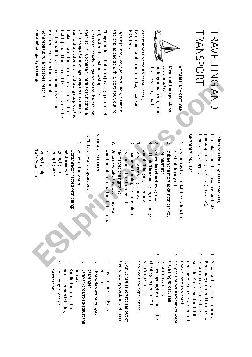Travelling and transport worksheet