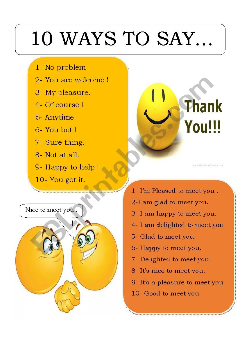 10 WAYS TO SAY THANK YOU AND NICE TO MEET YOY