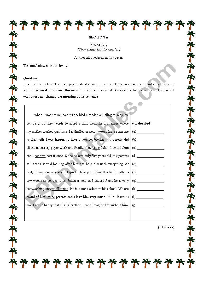 ERROR IDENTIFICATION worksheet