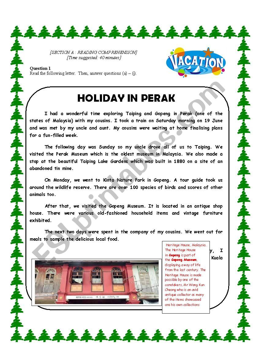 - READING COMPREHENSION ABOUT GOING FOR HOLIDAYS - ESL Worksheet By