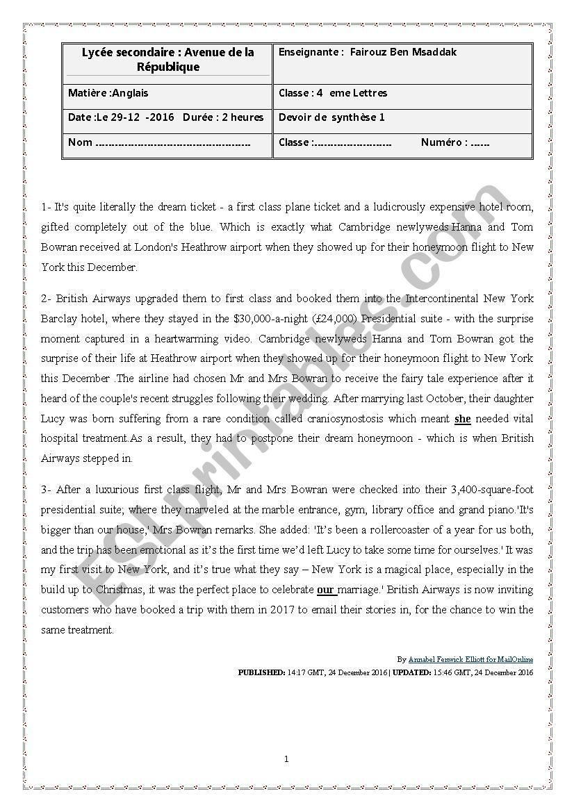 4 th year exam  worksheet