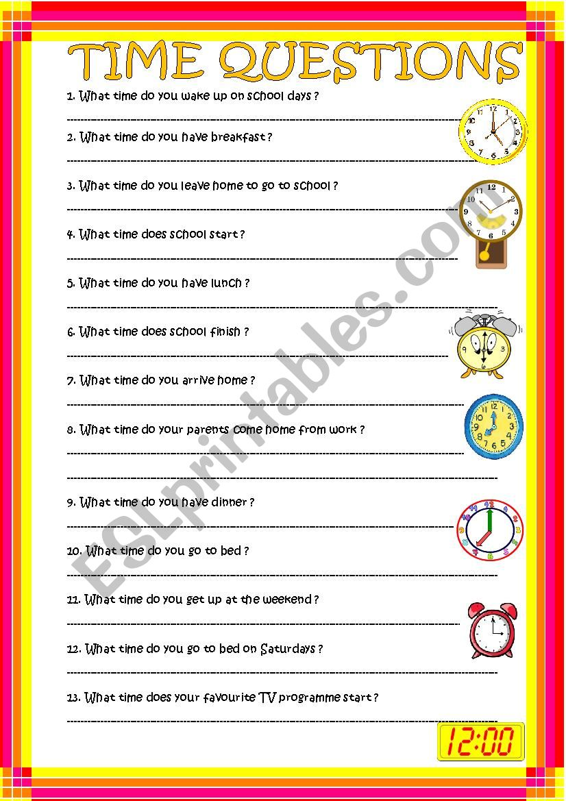 Time questions worksheet