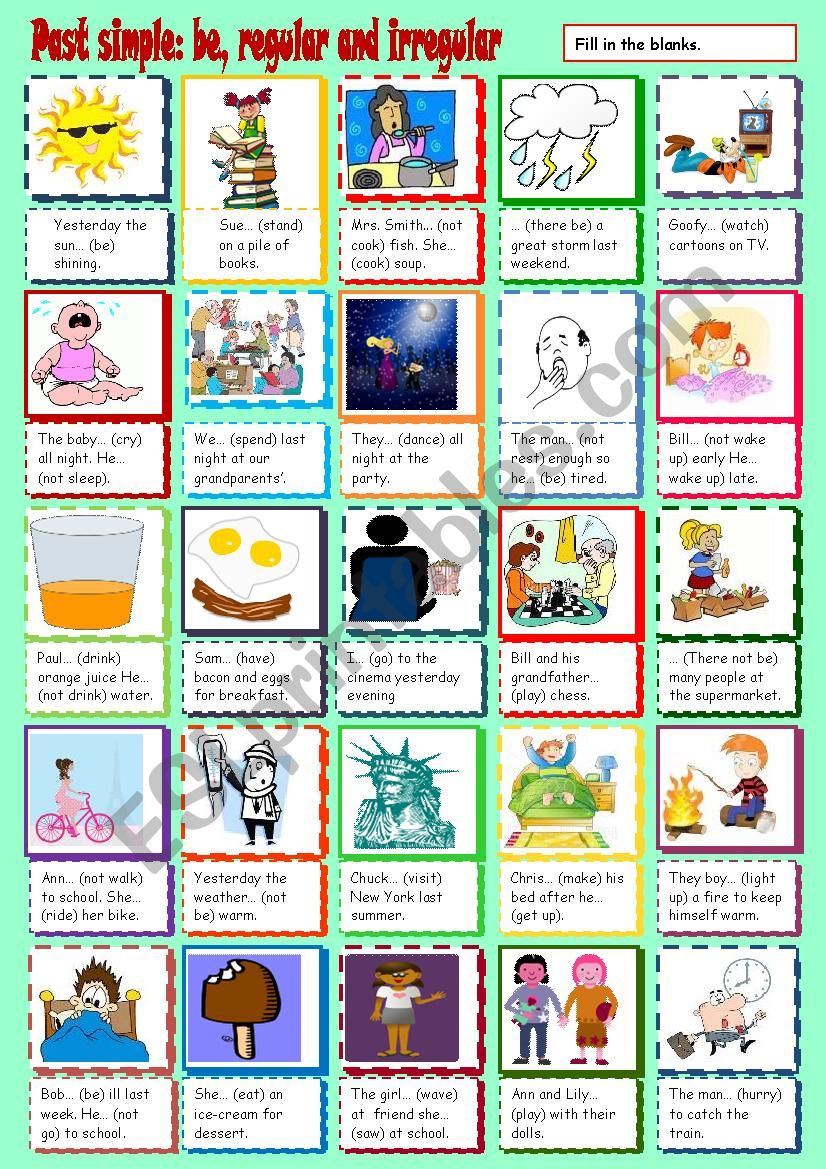 Past simple - be, regular and irregular verbs