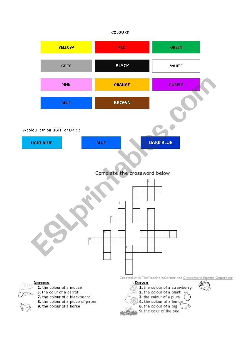 Learning colours (includes crossword)