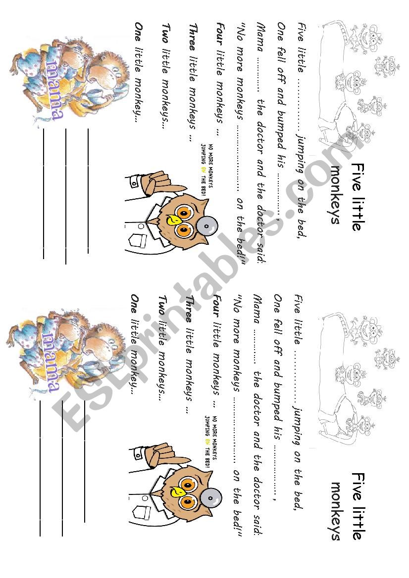 Song Five little monkeys worksheet