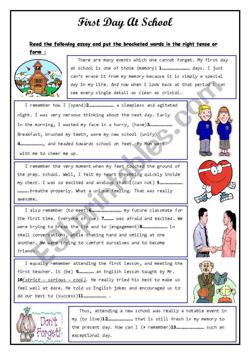 First Day at School - ESL worksheet by walidchok