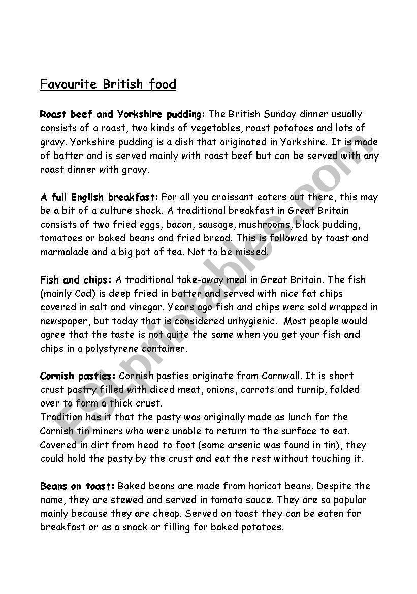 Great British food. (part 2) worksheet