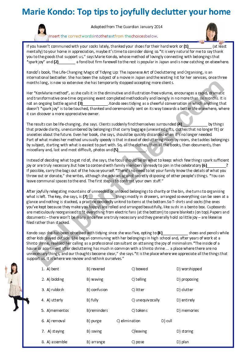 Marie Kondo CAE article worksheet
