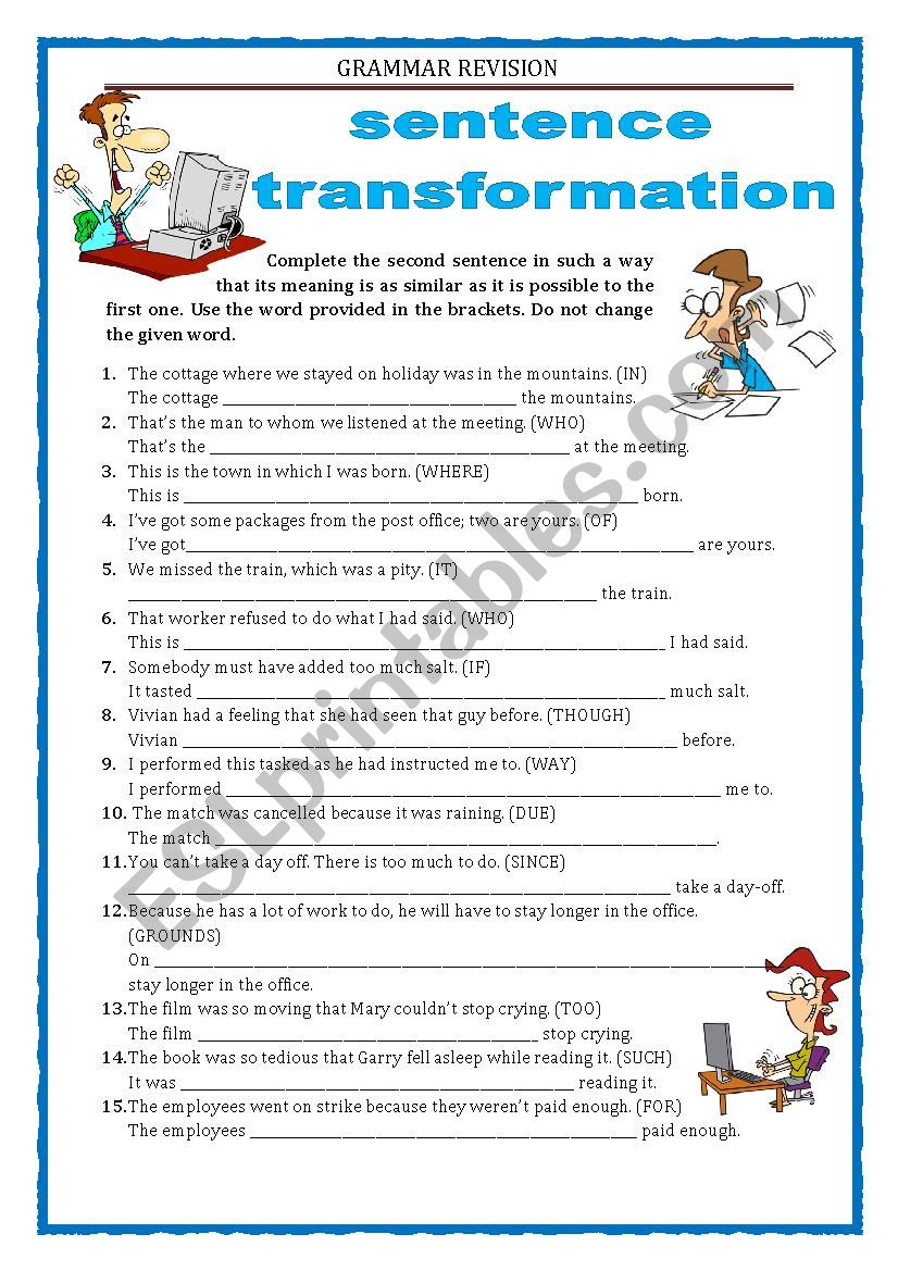 GRAMMAR REVISION - SENTENCE TRANSFORMATION part 5 - RELATIVE CLAUSES