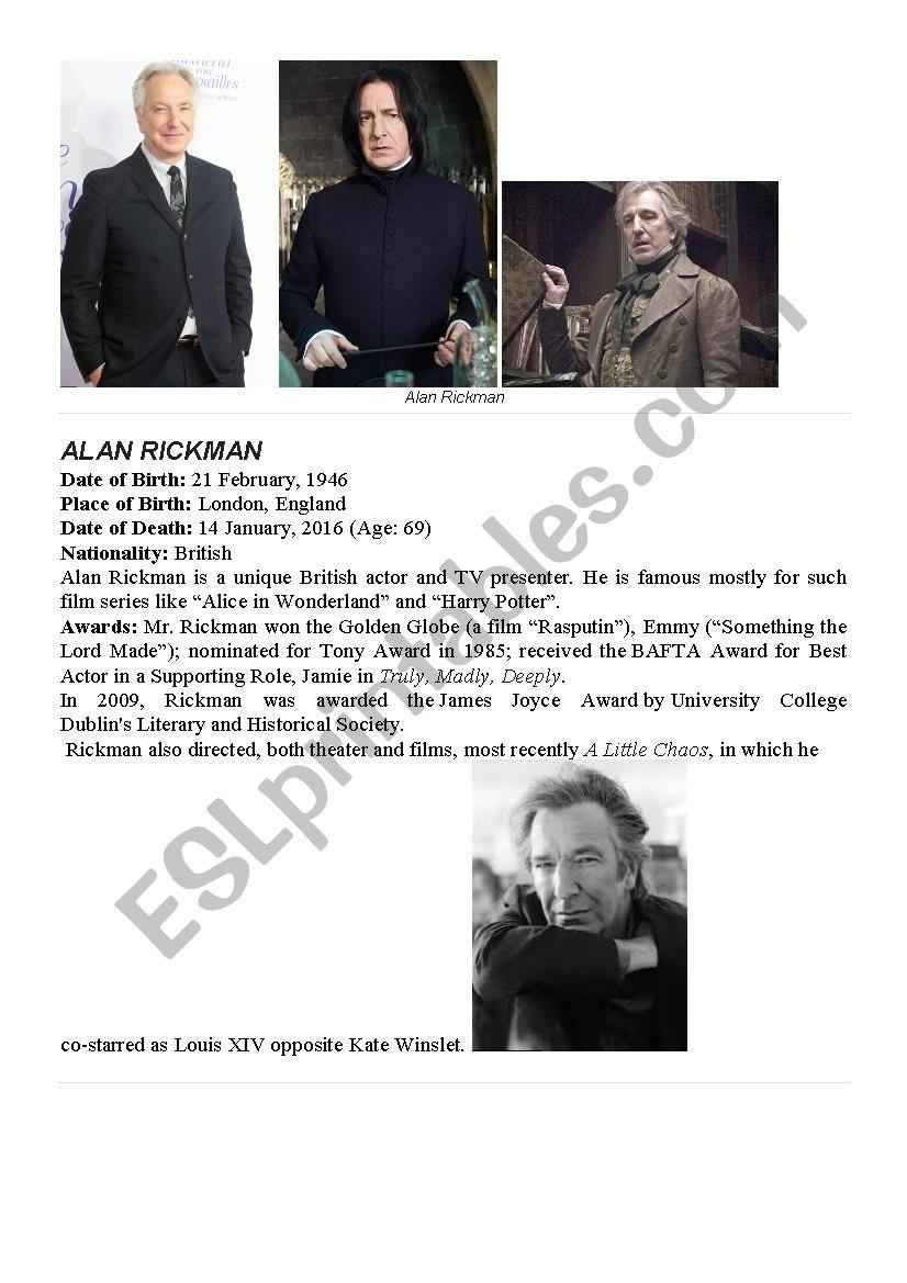 Alan Rickman- a British unique actor. Reading and discussing.