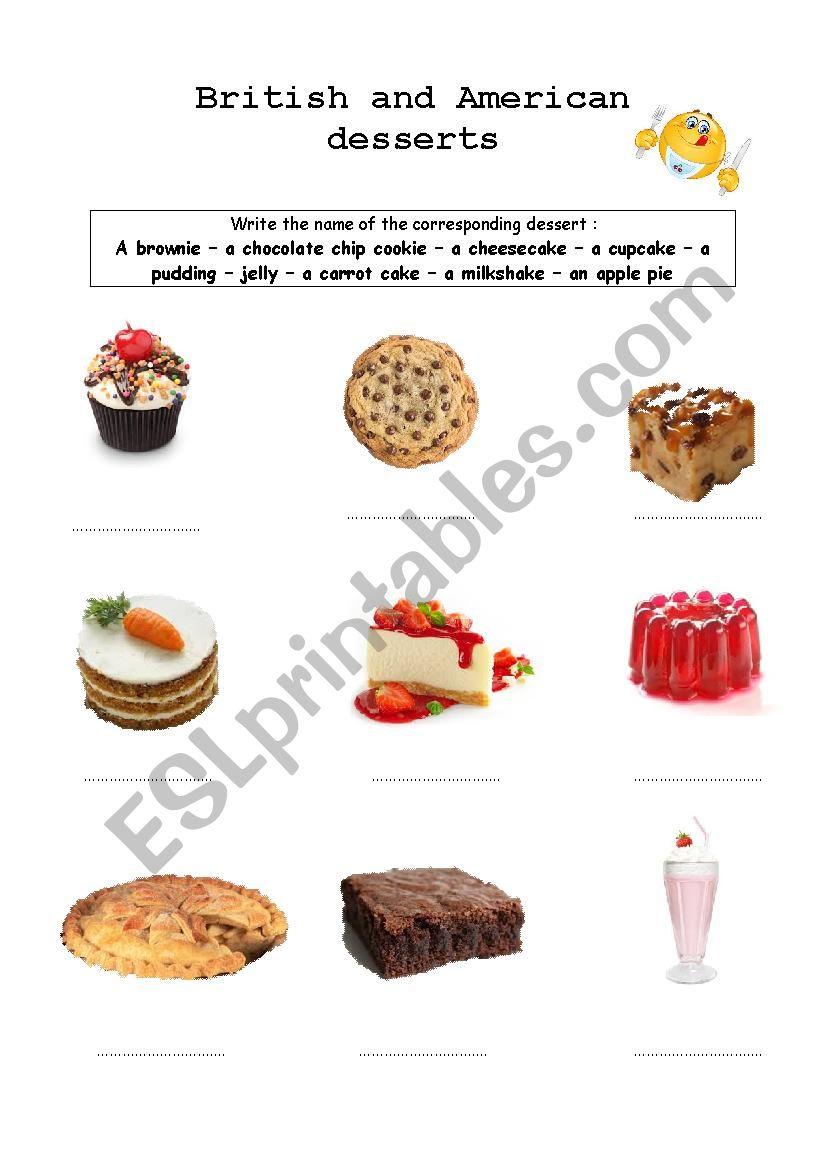 American and British desserts worksheet