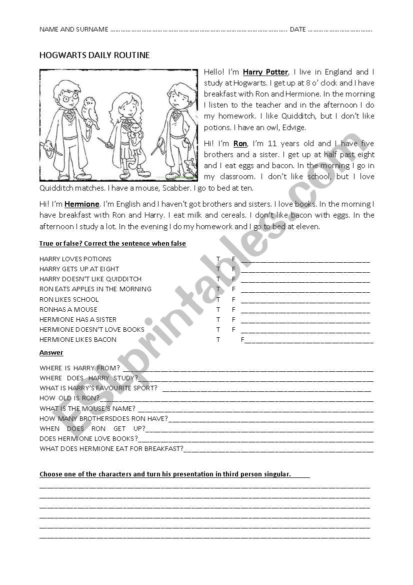 Hogwarts Daily Routine Harry Potter - ESL worksheet by Dalila4
