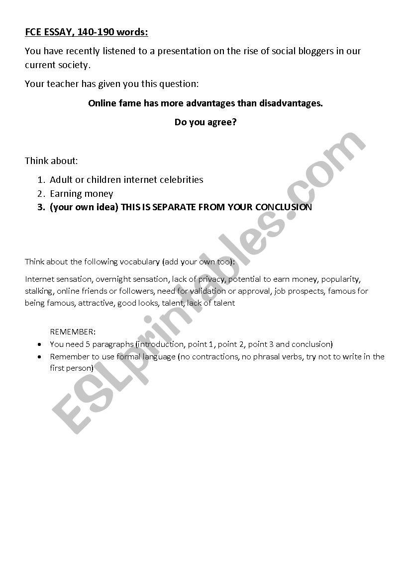 FCE Essay on Fame worksheet