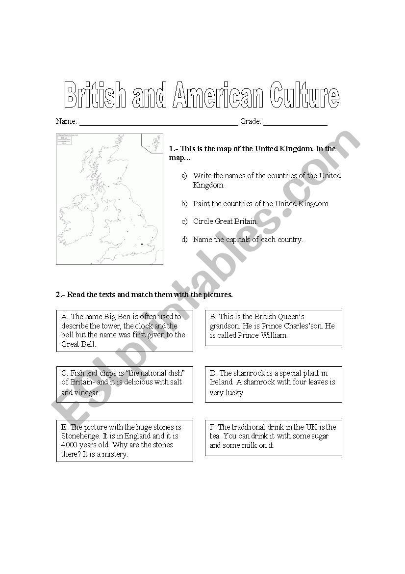 British and American Culture worksheet
