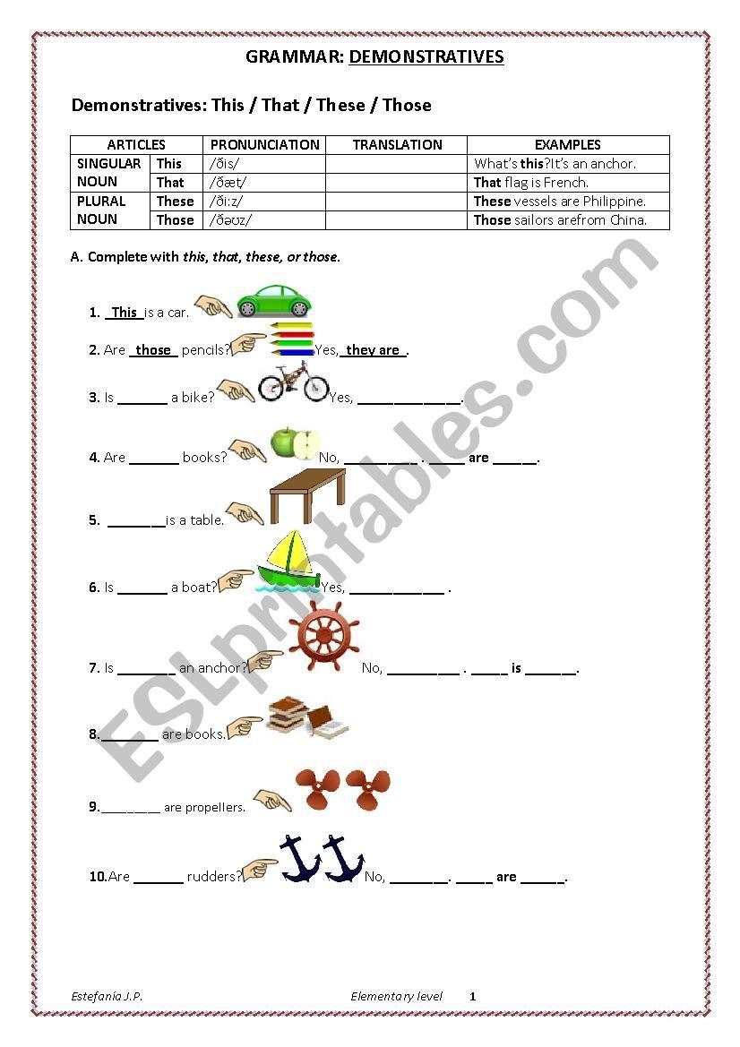 DEMONSTRATIVES worksheet