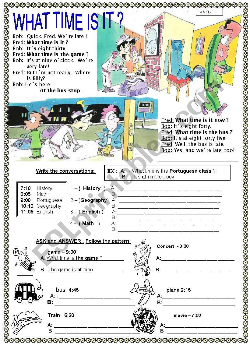 WHAT TIME IS IT ?  PAGE 1 worksheet