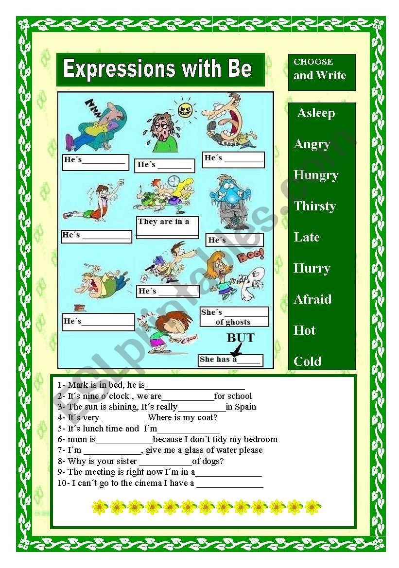 Expressions with be worksheet
