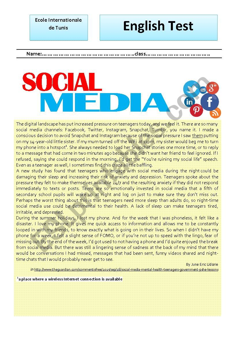 test about social networks worksheet