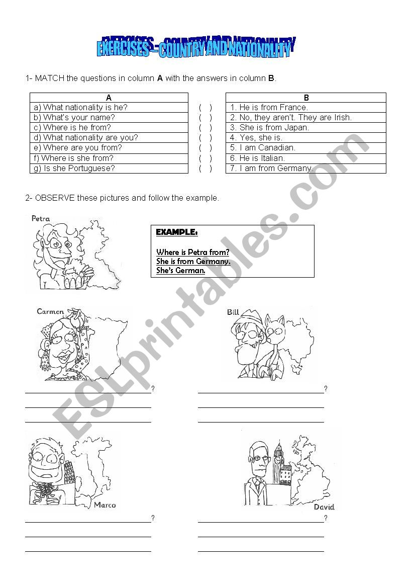 country and nationality worksheet