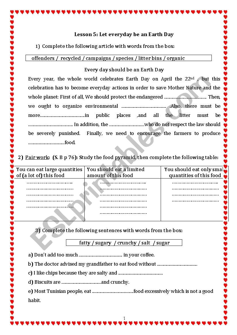 let everyday be an earth day  worksheet
