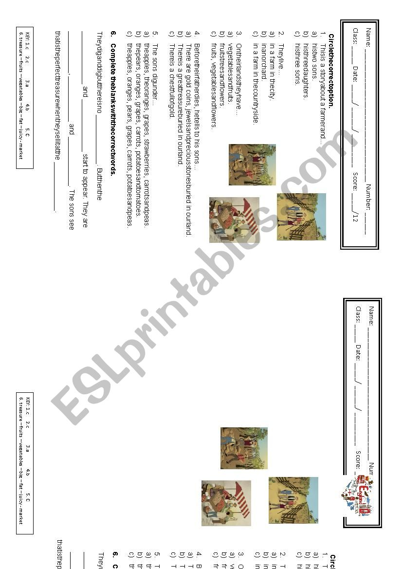 The farmer and his sons - Storytelling - ESL worksheet by