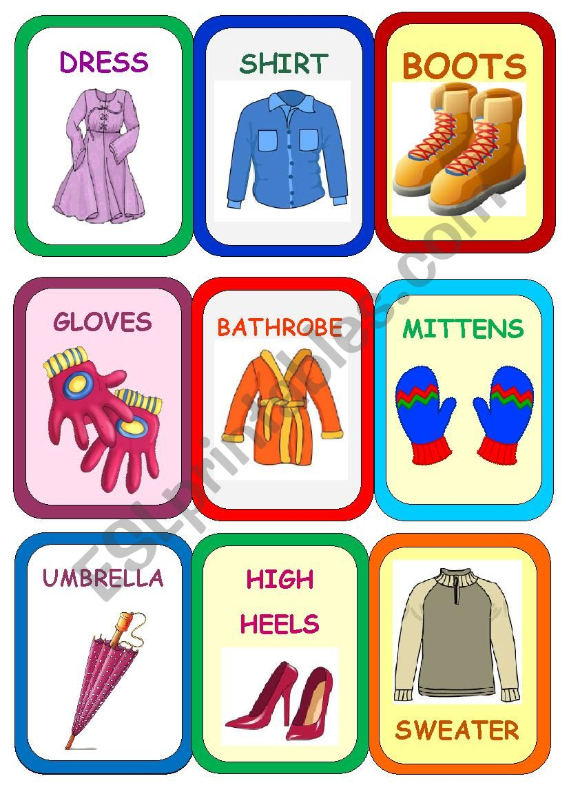 Clothes Super Memory Game 1 worksheet