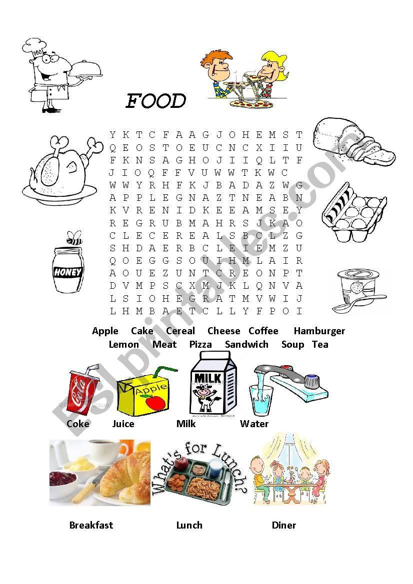 Food wordsearch worksheet