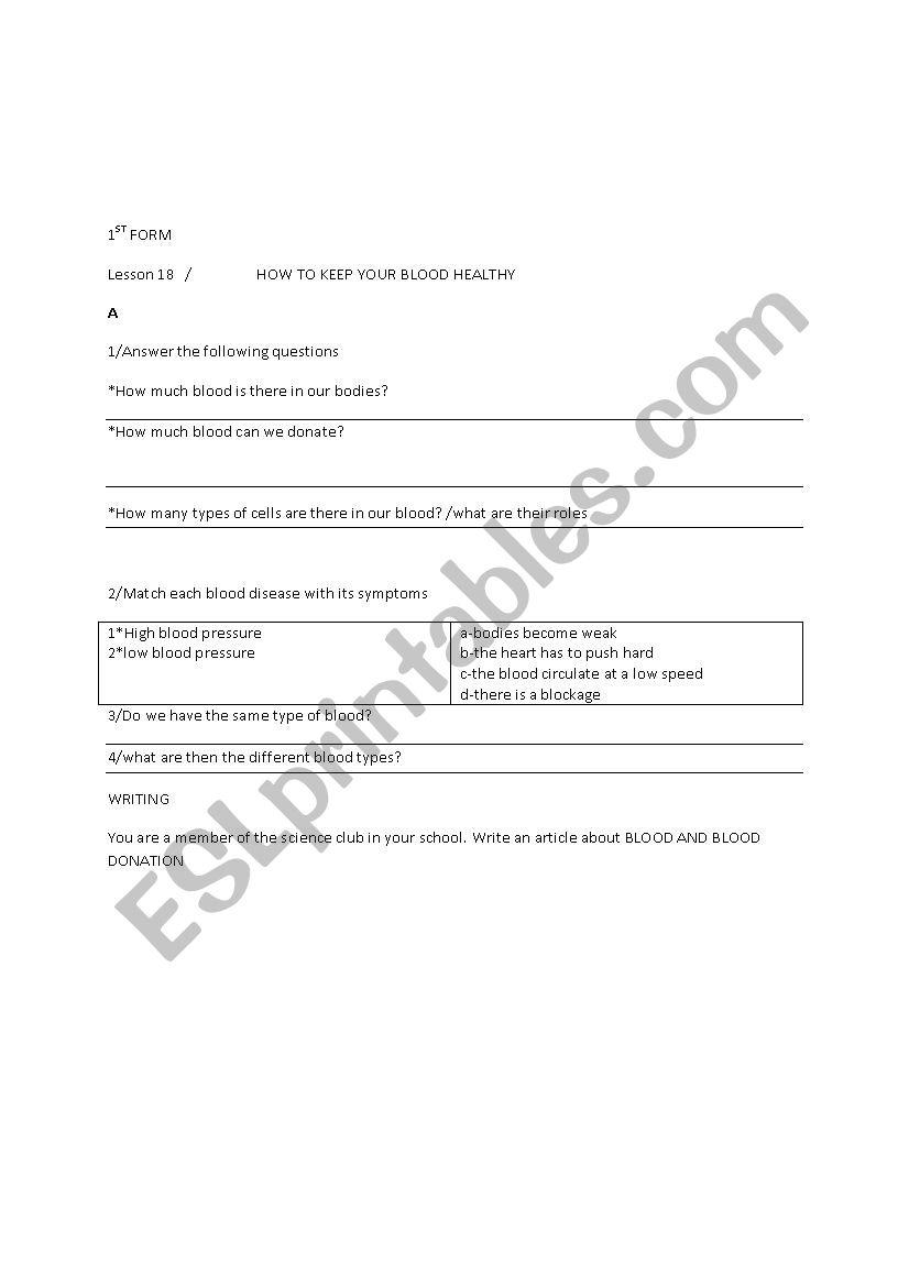 1ST FORM LESSON 15 worksheet