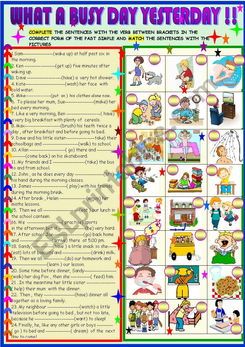 Yesterday Seems To Have Been My Day For >> My Day Yesterday Past Simple Esl Worksheet By Spied D Aignel