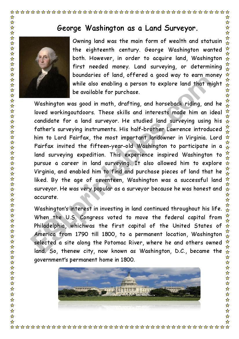 George Washington As Land Surveyor Esl Worksheet By Mariya2802
