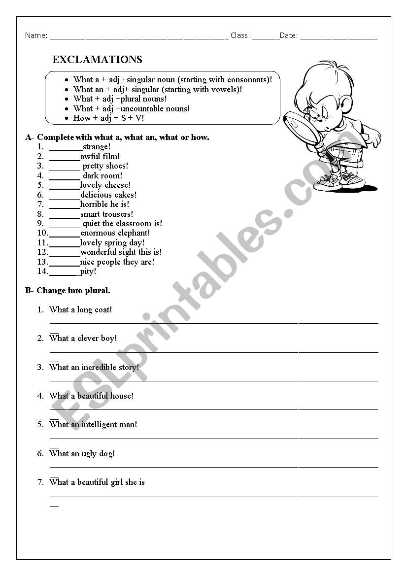 Exclamation sentences worksheet