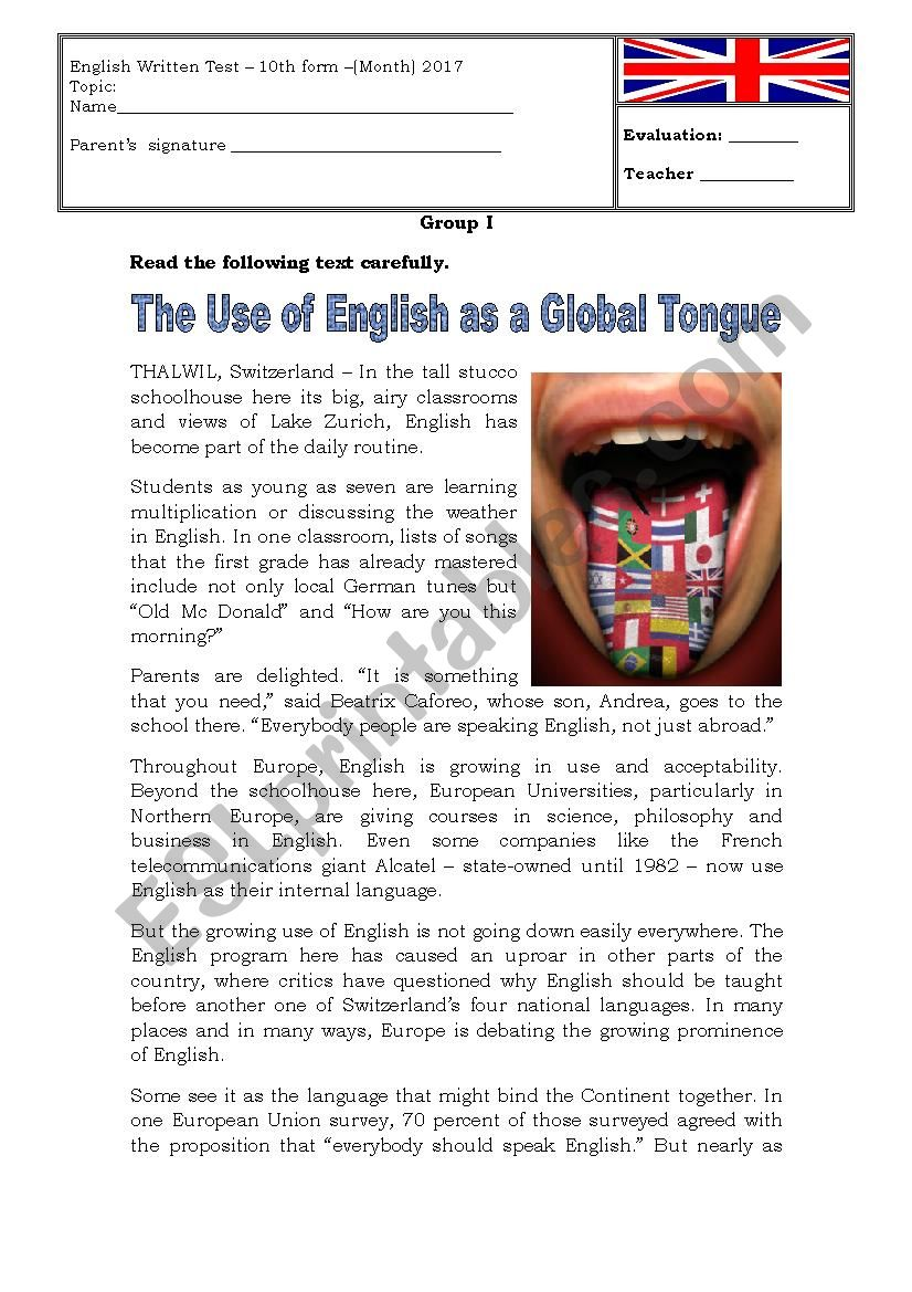 The use of English as a global tongue