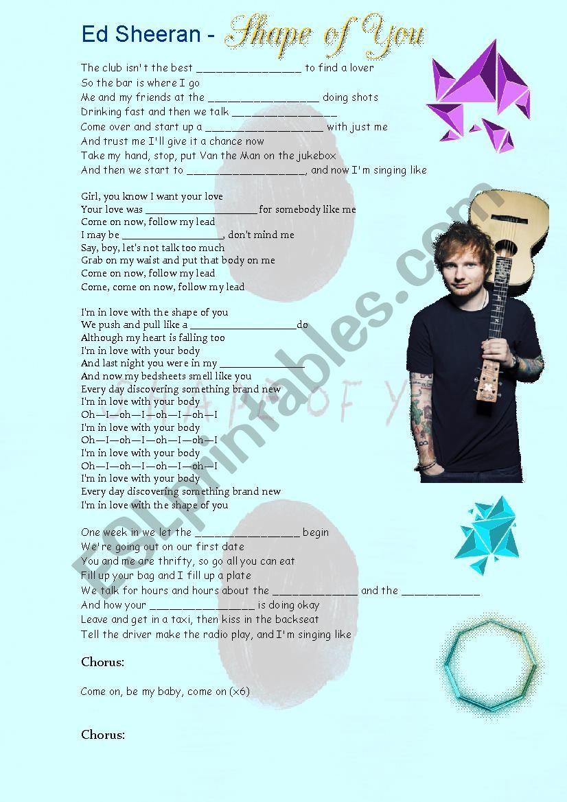Ed Sheeran Shape of You worksheet