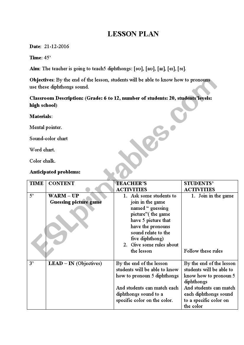 silent way lesson plan worksheet