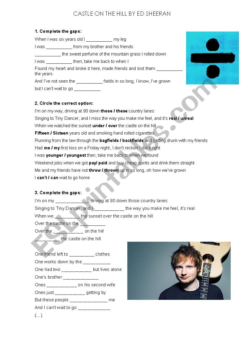 Castle On The Hill by Ed Sheeran - ESL worksheet by marc polanco