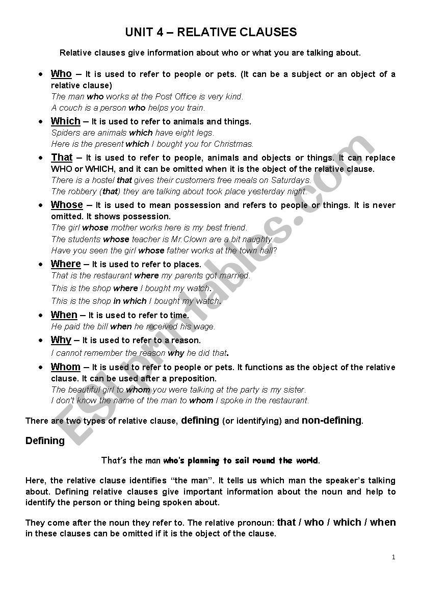 Relative Clauses grammar and exercises