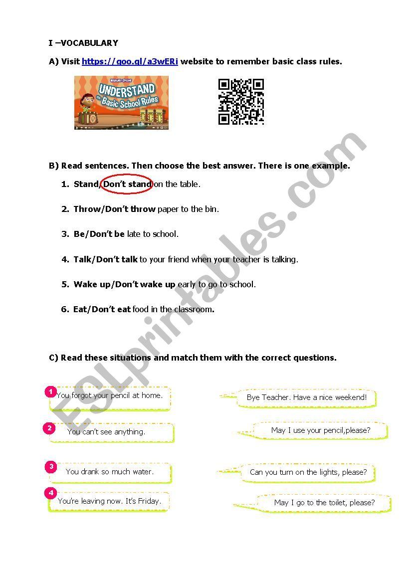 School and Classroom worksheet
